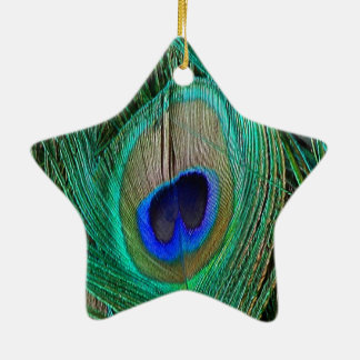 Indian Blue Peacock Feather Star Ornament