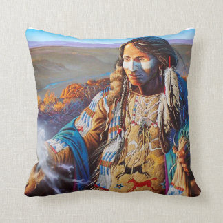 Indian Brave mystical Throw Pillow