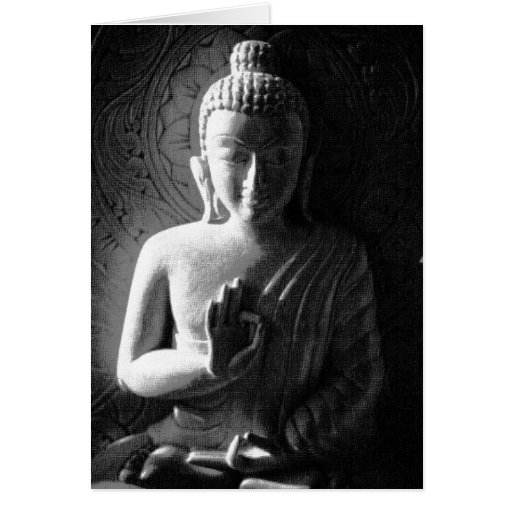 Indian Buddha - black and white Greeting Cards