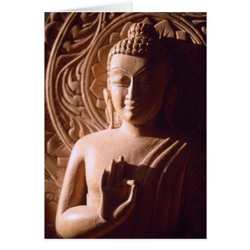Indian Buddha in Wood Greeting Card