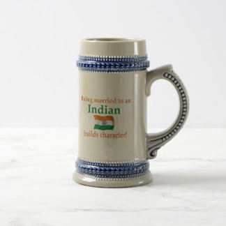 Indian Builds Character 18 Oz Beer Stein