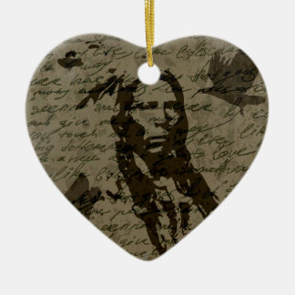 Indian chief ceramic heart ornament