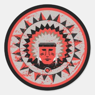 Indian Chief Grunge Sticker