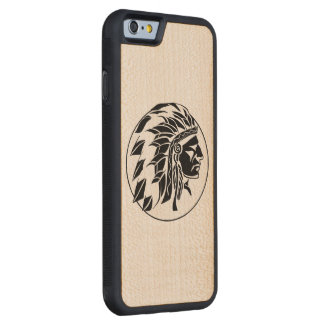 Indian Chief Head Carved Maple iPhone 6 Bumper Case