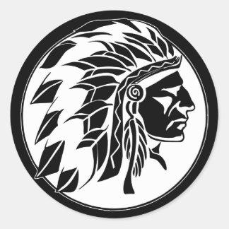 Indian Chief Head Round Sticker