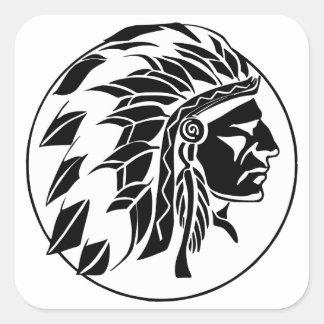 Indian Chief Head Square Sticker