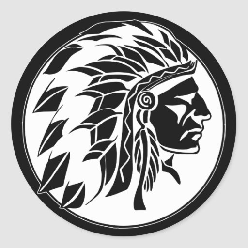Indian Chief Head Round Stickers