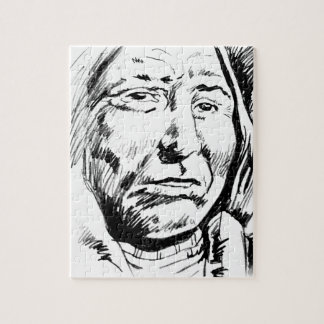 Indian Chief Ink Sketch Motivational Puzzle