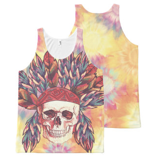Indian chief skull All-Over-Print tank top