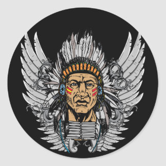 Indian Chief Wings Classic Round Sticker