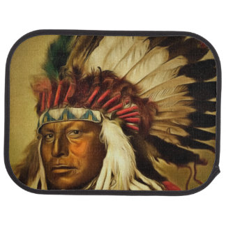 Indian Chief With Full Head Dress Printed Auto Mat