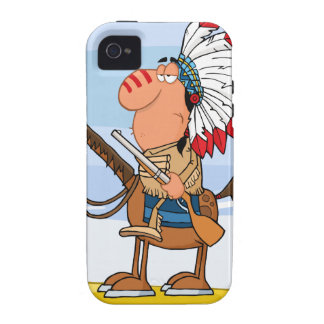 Indian Chief With Gun On Horse iPhone 4 Cases