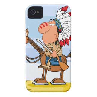 Indian Chief With Gun On Horse iPhone 4 Case-Mate Case