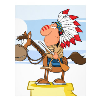 Indian Chief With Gun On Horse Letterhead Design