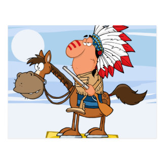 Indian Chief With Gun On Horse Postcard