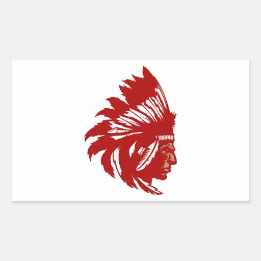 Indian chieftain head native American chief head Rectangular Stickers