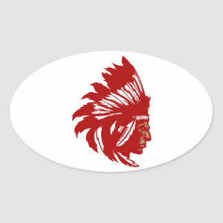 Indian chieftain head native American chief head Oval Stickers