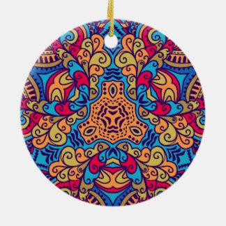 Indian Dream Kaleidoscope Round Ceramic Ornament