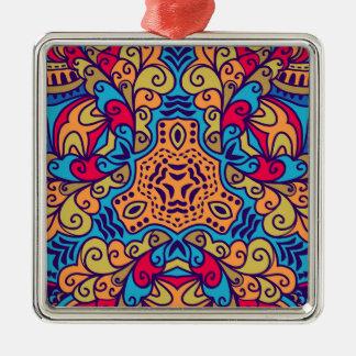 Indian Dream Kaleidoscope Silver-Colored Square Ornament