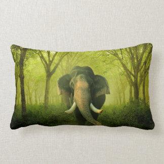 Indian Elephant Stunning Large Mammal Green Lumbar Pillow