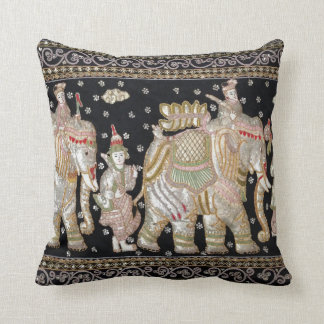 Indian Elephant Tapestry Throw Pillow