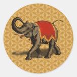 Indian Elephant w/Red Cloth Round Sticker