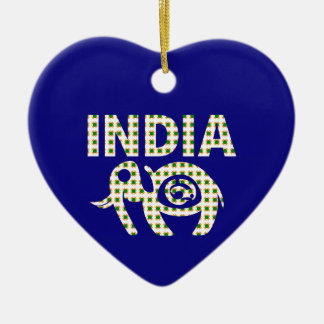 Indian Elephant with Calf Poster Ceramic Heart Ornament