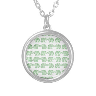 Indian elephants silver plated necklace