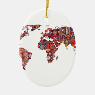 Indian Fabric Map Earth Patchwork Ceramic Ornament