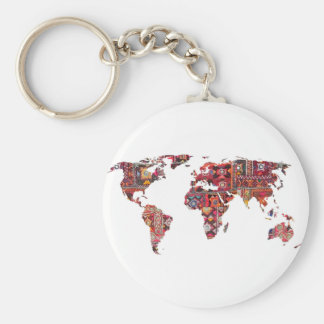 Indian Fabric Map Earth Patchwork Keychain
