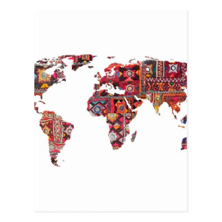 Indian Fabric Map Earth Patchwork Postcard