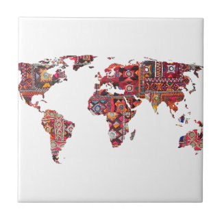 Indian Fabric Map Earth Patchwork Tile