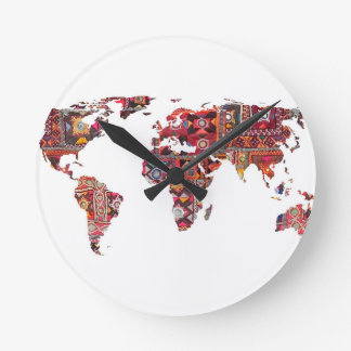 Indian Fabric Map Earth Patchwork Wall Clocks