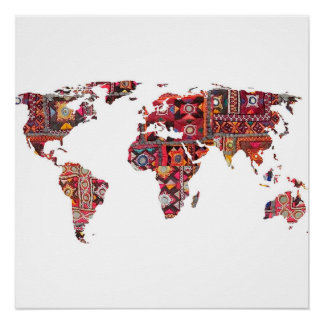 Indian Fabric Map Earth Poster
