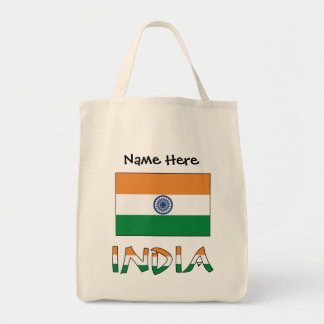 Indian Flag and India with Name Tote Bag