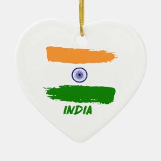 Indian flag designs ceramic heart ornament