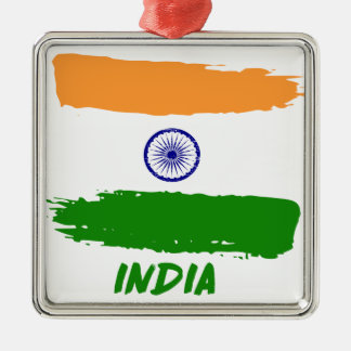 Indian flag designs Silver-Colored square ornament