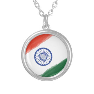 Indian Flag Flag India National Country Nation Silver Plated Necklace