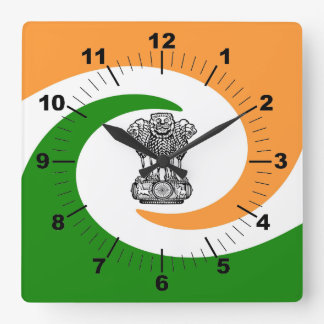 Indian flag square wall clock
