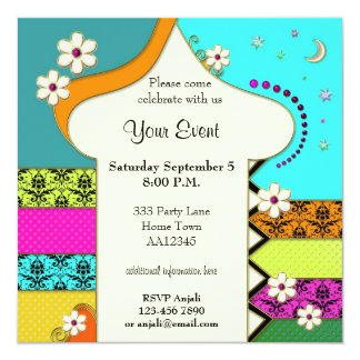 Indian Floral Fantasy Party Invitation