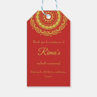 Indian Floral Gold Mehndi Design Gift Tag