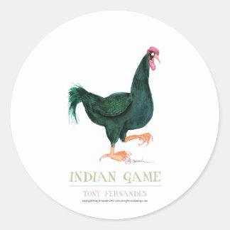 INDIAN GAME HEN, tony fernandes Round Sticker