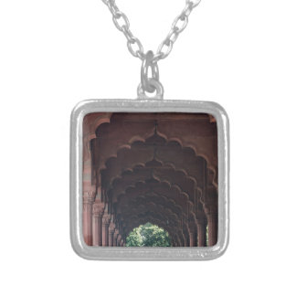 Indian Girl at Diwan-i-Aam, Red Fort, Delhi Silver Plated Necklace