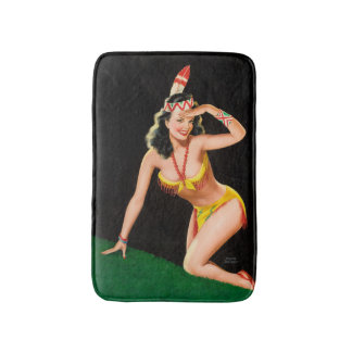 Indian girl retro pinup illustration bath mat