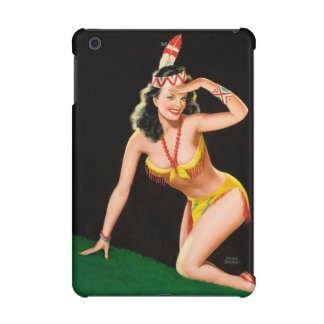 Indian girl retro pinup illustration iPad mini retina cover