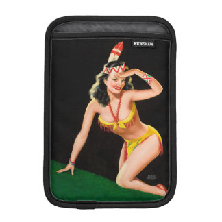 Indian girl retro pinup illustration iPad mini sleeve