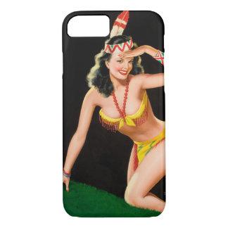 Indian girl retro pinup illustration iPhone 8/7 case