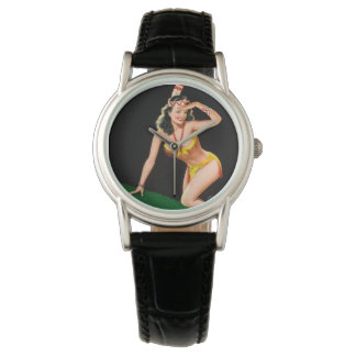 Indian girl retro pinup illustration watch