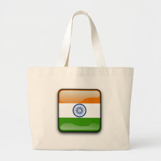 Indian glossy flag large tote bag