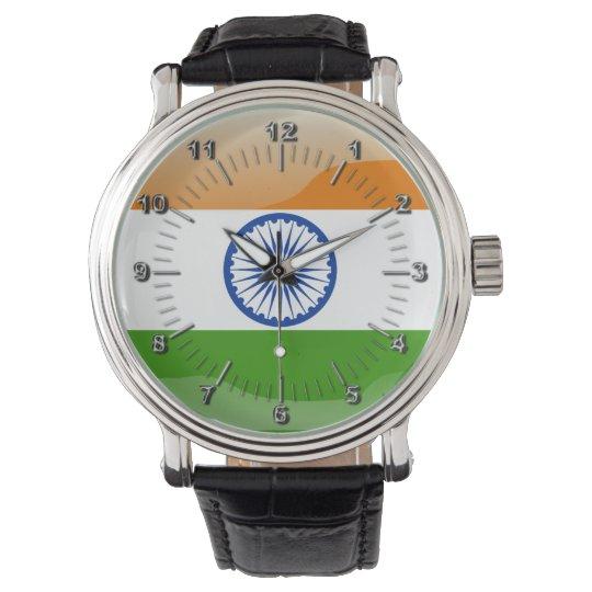 Indian glossy flag wrist watch